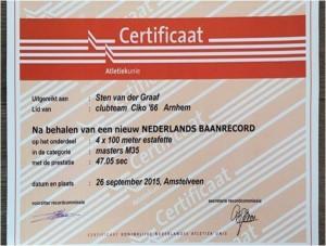 Een 'All Star'-cikoteam pakt de titel op de 4x400meter tiijdens de NK Estafette in Amstelveen. Het is een nederlands record